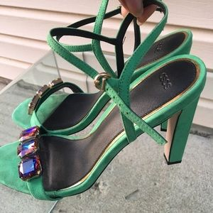 ASOS HEARING Embellished Heeled Sandals Green Gem
